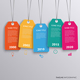 Time line info graphic with colorful hanging tags template