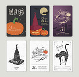 set of illustrations for Halloween in retro style