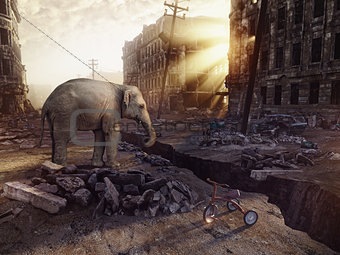 an elephant and the ruins of a city