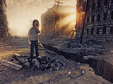 ruins of a city and the boy