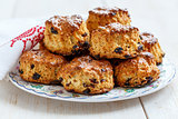 Scones with dried cranberries and raisins.