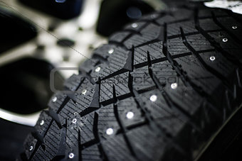 Car tire with shallow depth of field