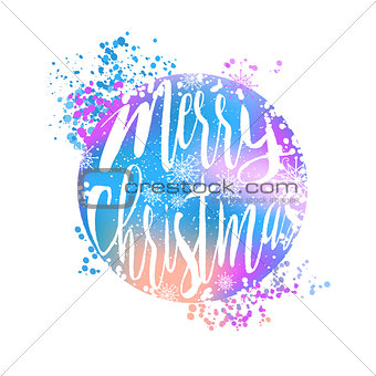 Blue and pink winter typography poster or card with Have a Happy Merry Christmas design