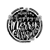 Black and white winter typography poster or card with Have a Happy Merry Christmas design.