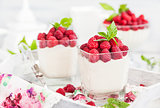 Delicious sweet  mousse decorated with fresh raspberries