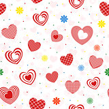 Seamless pattern with various red and pink hearts