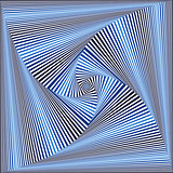 Whirling sequence with blue and white square forms
