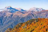 Fisht, Oshten, Pshecho Sou mountains at autumn day time.