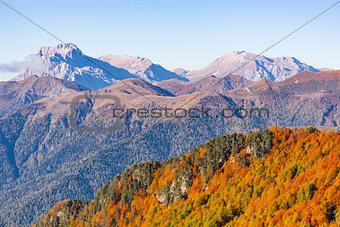 Fisht, Oshten, Pshecho Sou mountains at autumn day time.