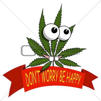 A cartoon marijuana smiling and happy