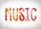 Music Concept Watercolor Word Art