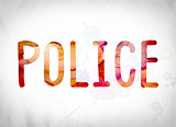 Police Concept Watercolor Word Art
