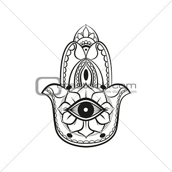 Black lines hamsa Fatima hand protection symbol