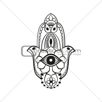 Black hamsa Fatima hand protection symbol