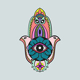 Colorful candycolor bright hamsa Fatima hand protection symbol