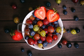 top view of bowl with berries