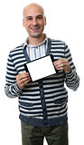 casual man presenting somenhing on blank digital tablet
