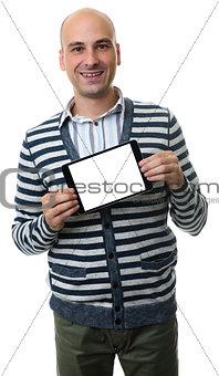 casual man presenting somenhing on blank digital tablet