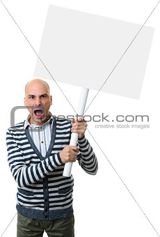 angry man screams and holds a blank placard