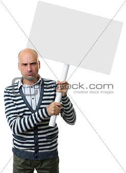 angry guy with blank placard on a stick.