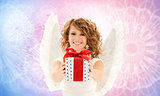 happy woman with angel wings and birthday gift