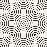Vector Seamless Black And White Freehand Concentric Circles Pattern