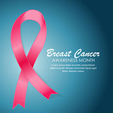Breast Cancer Awareness Month Pink Ribbon Background Vector Illu