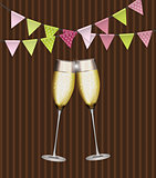 Party Background with Flags and Glasses of Champagne. Vector Ill