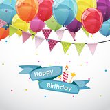 Happy Birthday Card Template with Balloons and Flags Vector Illu