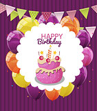 Color Glossy Happy Birthday Balloons, Flags and Cake Banner Back