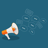 Social Media Flat Concept with Megaphone and Speech Bubles Messa