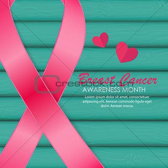 Breast Cancer Awareness Pink Ribbon Vector Illustration