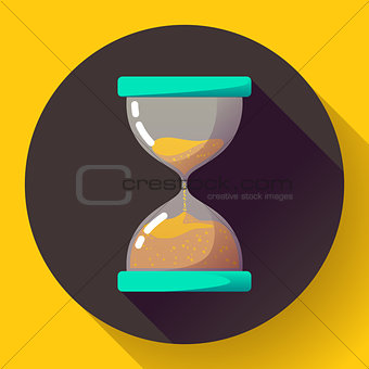 old vintage hourglass icon flat vector - time symbol