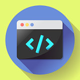 Coding icon vector flat program app