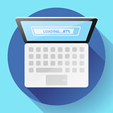 Open Laptop Top View Vector Flat Icon