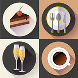 Restaurant and food icons set, vector. Flat design style.