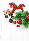 Christmas decoration with fir and pinecone