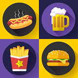 Set of fast food menu and beer icons. Flat design style.