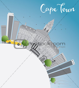 Cape town skyline with grey buildings, blue sky and copy space.