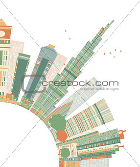 Abstract Dubai City Skyline with Color Skyscrapers and Copy Spac