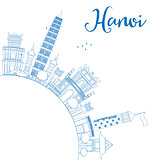 Outline Hanoi skyline with blue Landmarks and copy space.