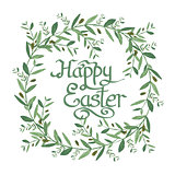 Happy Easter Text inside Watercolor olive wreath.