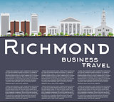 Richmond (Virginia) Skyline with Gray Buildings and Copy Space.