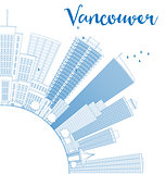 Outline Vancouver skyline with blue buildings and copy space.