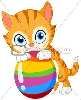 Kitten with egg Easter