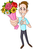 Man giving flower bouquet