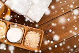 himalayan pink salt, soap bar and bath towels