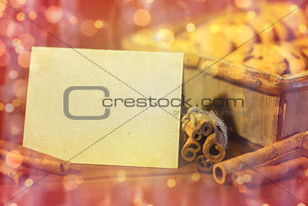 greeting card and christmas oat cookies