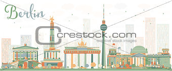 Abstract Berlin Skyline with Color Buildings.