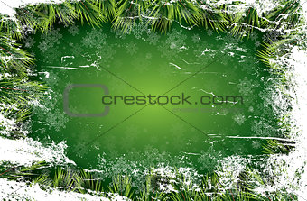 Christmas card with white snowflakes on green background.